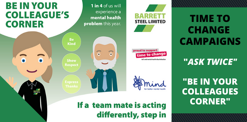 Barrett Steel launch Time for Change campaigns 'Be In Your Colleague's Corner' and 'Ask Twice'.