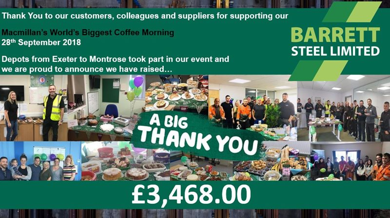 Barrett Steel Limited raise £3,468 for Macmillans Biggest Coffee Morning