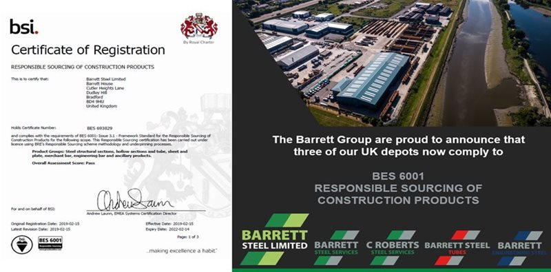 Barrett Steel secures BES 6001 Responsible Sourcing Accreditation